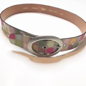 Fossil Genuine Leather Colorful Patchwork Belt S